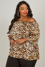 Plus Size Long Sleeve Off The Shoulder Top