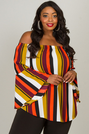 Plus Size Long Sleeve Off The Shoulder Blouse