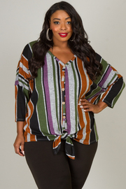 Plus Size Button Down Tie At The Waist Long Sleeve Top