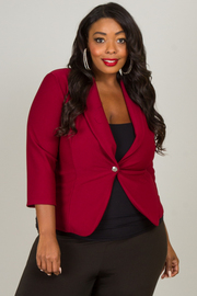 Plus Size Long Sleeve One Button Jacket