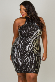 Plus Size Halter Sequin Dress