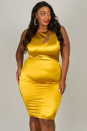 Plus Size Fitted Sleeveless Dress With A Ring Accent on Neck Line
