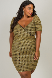 Plus Size Short Sleeve Deep V-Neck Shinny Dress