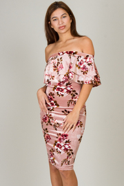 Fitted Off Shoulder Ruffle Floral Dress