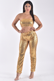 SEQUIN TUBE TOP AND PANTS SET WITH BOW TIE