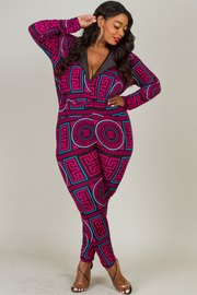 LONG SLEEVE FANCY PRINT COLORFUL JUMPSUIT