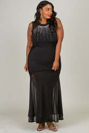 ROUND NECK SLEEVELESS MESH COMBO WITH STUD LONG DRESS