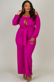 OFF SHOULDER BUST OVERLAP POINT JUMPSUIT