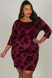 Plus Size Velvet Rose Print Dress