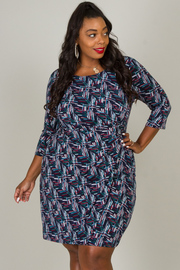 Plus Size Geometric Print Dress