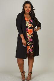 Plus Size Big Flower Dress with Cardigan