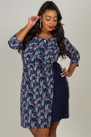 Plus Size O-Ring Wrap Print Dress
