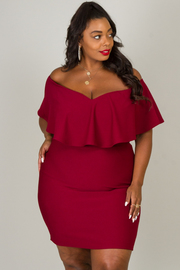 Plus Size Ruffle Off Shoulder Mini Dress