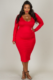 Plus Size Low Neck Long Sleeve Basic Dress