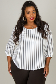 Plus Size Pin Stripe Top
