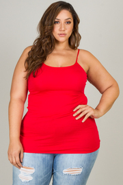 Plus Size Basic Cami With Adjustable Spaghetti Straps