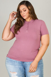 Plus Size Classic Jersey Polo Top