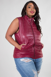Plus Size Quilted Padding Vest