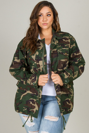 Plus Size Basic Collar Front Hidden Button Patch Pocket Oversized Camo Print Utility Jacket