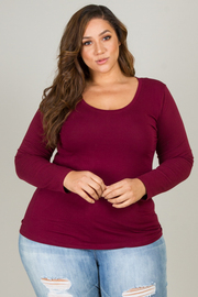PLUS SIZE BANDED SCOOP NECK LONG SLEEVE TOP
