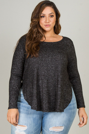 PLUS SIZE OVERLAPPING SIDE SLIT ROUND NECK LONG SLEEVE BRUSHED TOP