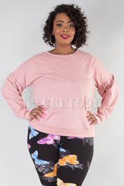 PLUS SIZE CREW NECK BALLOON SLEEVE FRENCH TERRY PULLOVER SWEATER