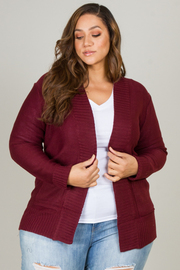 PLUS SIZE SHAWL COLLAR PATCH POCKET LONG SLEEVE OPEN CARDIGAN