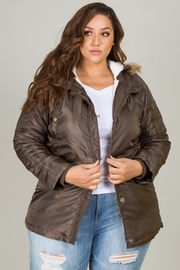PLUS SIZE FUR DETACHABLE HOODED NYLON TWILL JACKET
