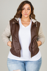 PLUS SIZE CUFFED MOTO JACKET WITH CONTRAST SLEEVE AND HOOD