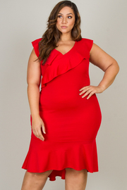 Plus Size Short Sleeve Ruffle Knee Dress