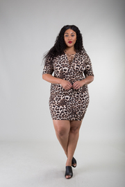 Plus Size Short Sleeve Dress with Crisscross Accent To the Collar Line