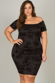 Plus Size Short Sleeve Off The Shoulder Fitted Dress