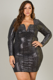 Plus Size Long Sleeve Jewel Neck Line Short Dress