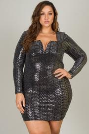 Plus Size Long Sleeve Jewel Neck Line Short Dress