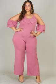 Plus Size Cold Shoulder Jumpsuit with Ruffle Detail