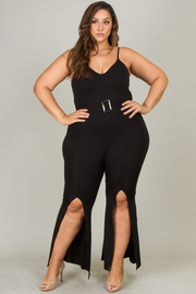Plus Size Spaghetti Strap Jumpsuit With Slit On Leg