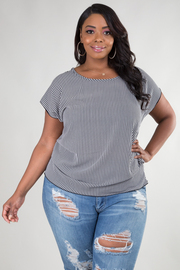 Plus Size Stripe Blouse With Keyhole On The Back