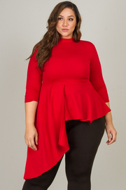 Plus Size High Neck Asymmetrical Long Sleeve Top