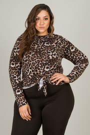 Plus Size Long Sleeve Tie-Up At Waist Top