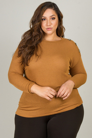 Plus Size High Crew Neck Line Long Sleeve Top With Button Detail On Sleeve