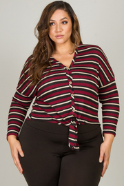 Plus Size Long Sleeve Button Down Tie-Up At Waist Top