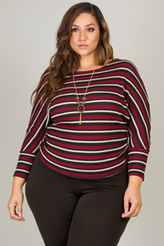 Plus Size Crew Neck Long Sleeve Top With Ruched Size