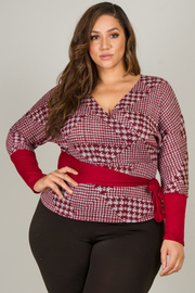 Plus Size V-Neck Long Sleeve Top With Belt Detail
