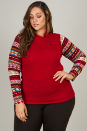 Plus Size Long Sleeve Draped Button Blouse