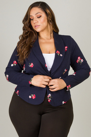 Plus Size Floral Detail One Button Long Sleeve Blazer