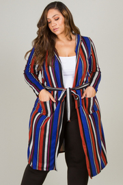 Plus Size Long Sleeve Long Cardigan With Belt