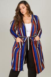 Plus Size Long Sleeve Long Cardigan With Belt