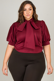 Plus Size Short Sleeved Bubble Mock Tie Top