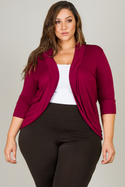 Plus Size 3/4 Sleeve With Button Detail Cardigan