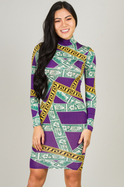 High Neck Long Sleeve Fitted Money Print Dress